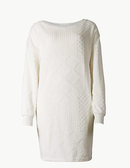 Fleece Textured Lounge Dressing Gown