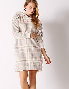 Fleece Checked Hooded Lounge Dress