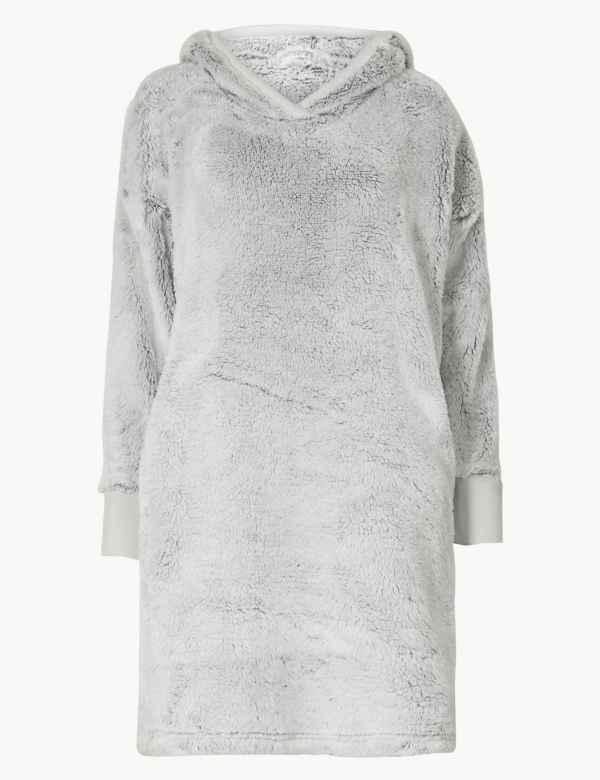 Long Pile Hooded Lounge Dress 4d1de5b46