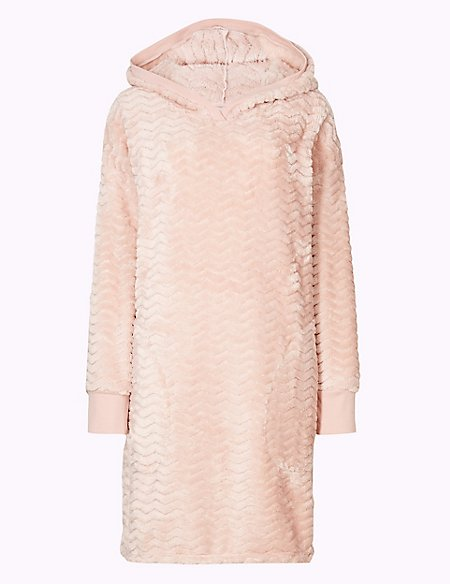 Cosy Textured Hooded Lounge Dress