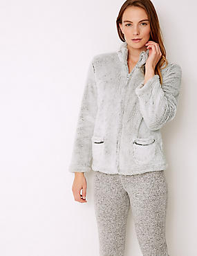 Fleece Textured Long Sleeve Bed Jacket