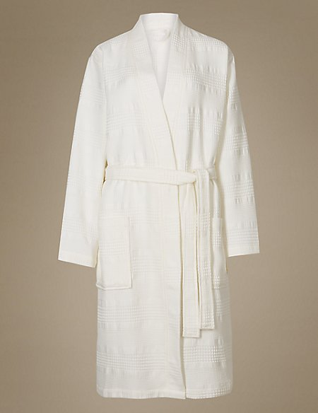 Pure Cotton Textured Waffle Dressing Gown