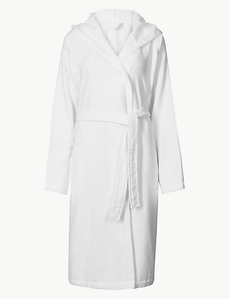 Cotton Rich Hooded Dressing Gown with Belt