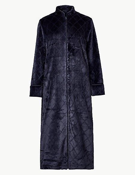 Fleece Textured Long Sleeve Dressing Gown