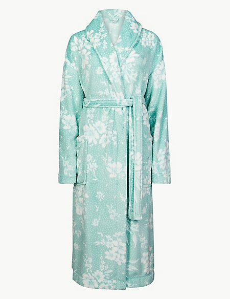 Fleece Floral Print Dressing Gown with Belt