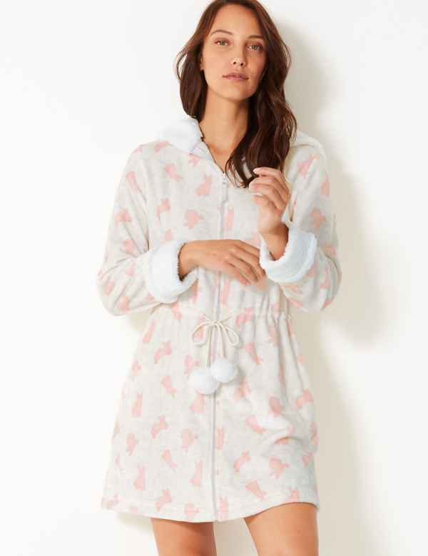 Hooded Bunny Zip-up Short Dressing Gown 6c9779004