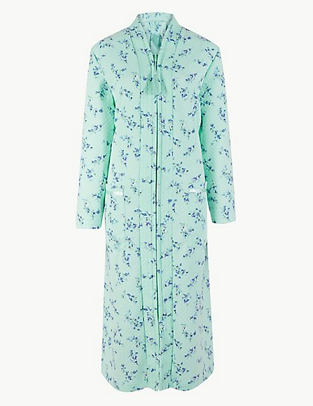 Floral Print Long Sleeve Dressing Gown