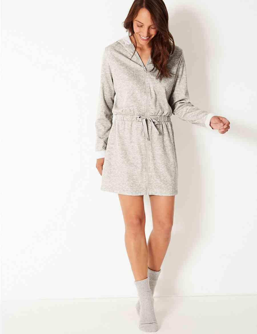 Fleeceback Zip Through Dressing Gown nbsp  7607ee2af