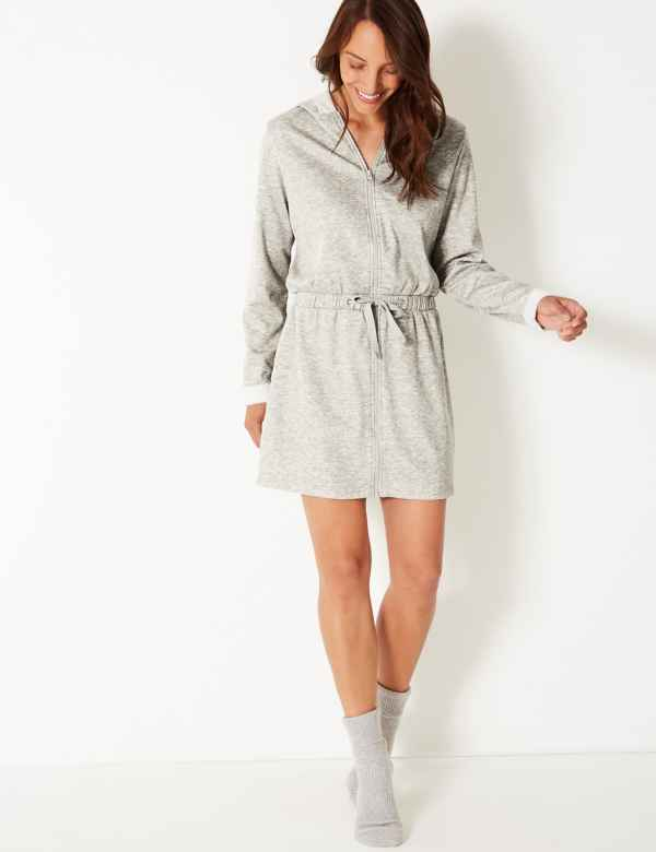 Fleece-lined Zip-up Short Dressing Gown 06a019910