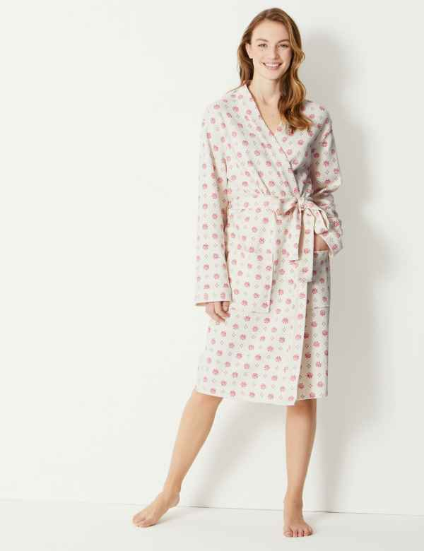 Pure Cotton Foulard Waffle Dressing Gown 0d990e03b