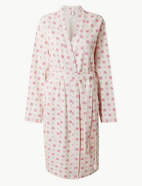 Pure Cotton Foulard Waffle Dressing Gown