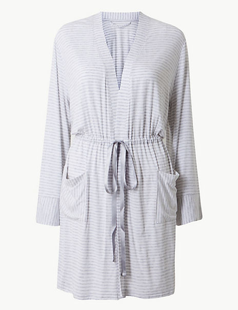 Jersey Striped Short Dressing Gown