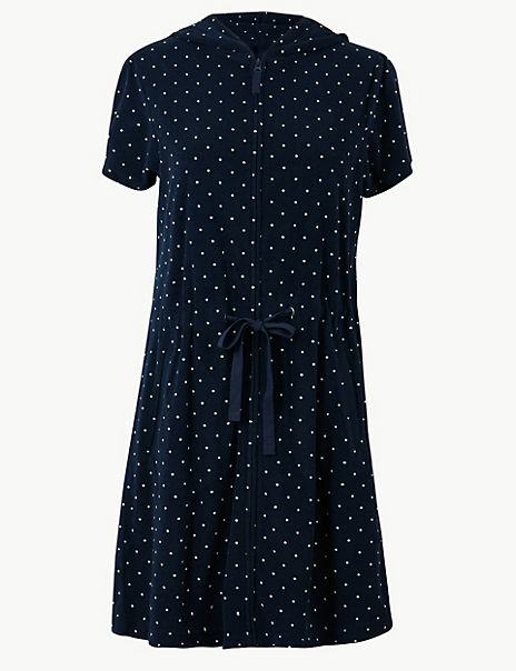 Terry Dotted Zip-up Short Dressing Gown