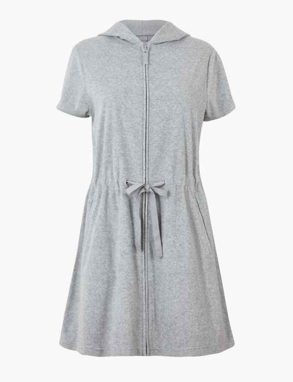 a38ae208d4 Terry Dotted Zip-up Short Dressing Gown