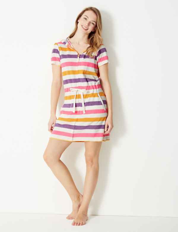 c095ab69e912 Terry Striped Zip-up Short Dressing Gown