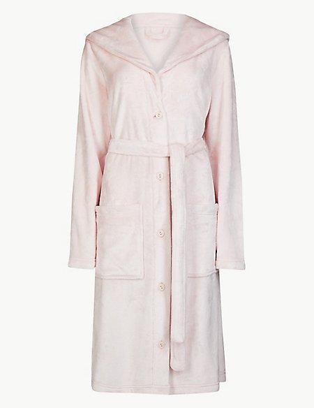 Fleece Textured Dressing Gown with Belt