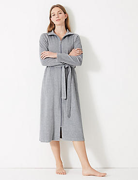 cf2cb235e2 Velour Zipped Through Dressing Gown ...