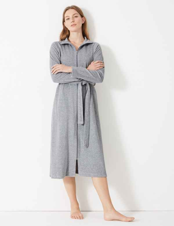 53a71bb154 Velour Funnel Neck Zip-up Dressing Gown
