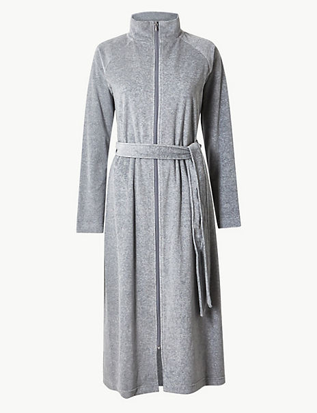 Velour Funnel Neck Zip-up Dressing Gown