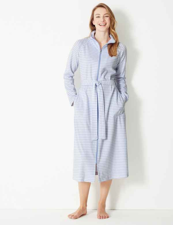 e182b5d933 Velour Striped Zip-Up Dressing Gown