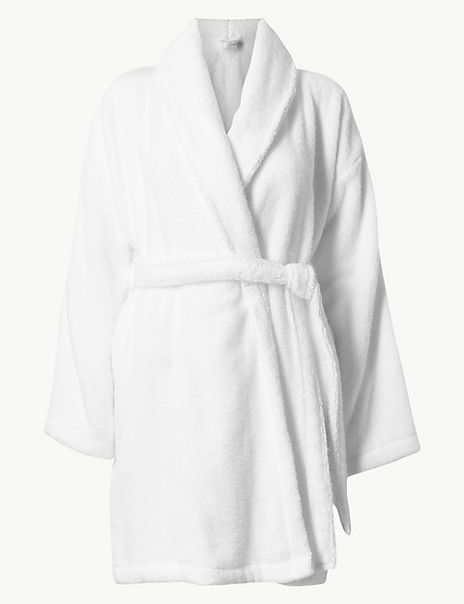 Pure Cotton Towelling Short Dressing Gown