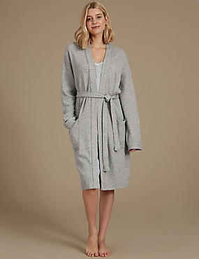 Pure Cotton Textured Dressing Gown, GREY MARL, catlanding