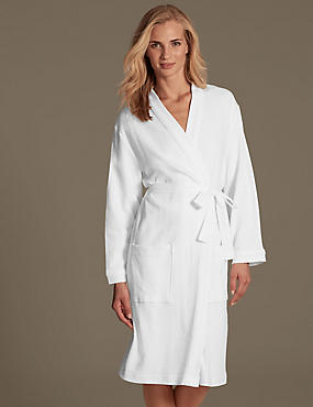 Pure Cotton Waffle Dressing Gown