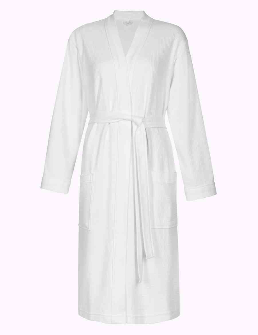Pure Cotton Waffle Dressing Gown Ms Collection Ms