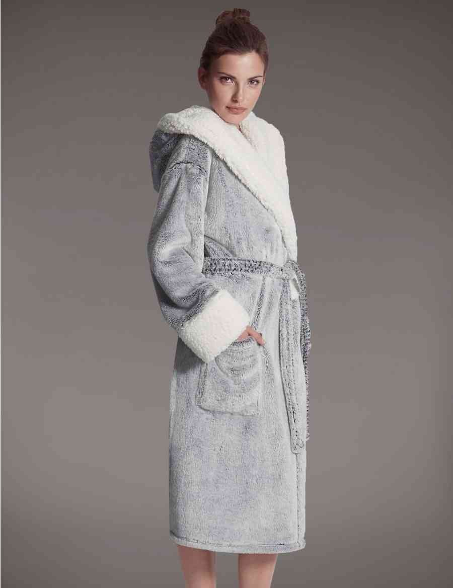 Luxury Hooded Shimmer Dressing Gown Autograph Ms