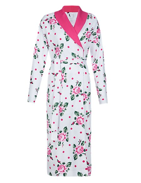 Pure Cotton Floral Dressing Gown