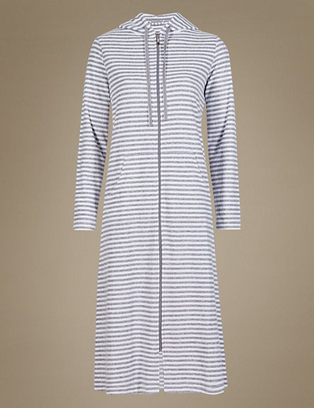 Zipped Striped Dressing Gown | M&S Collection | M&S