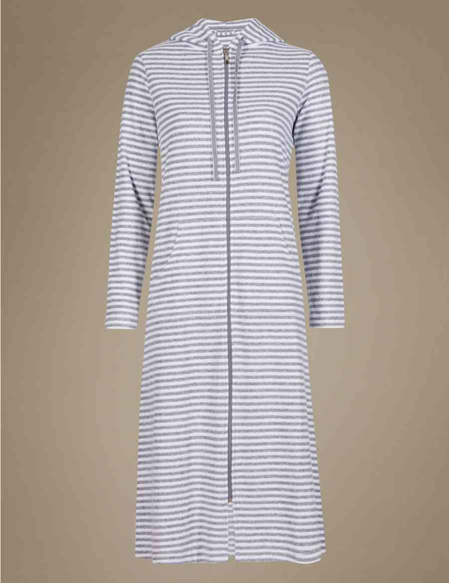 Zipped Striped Dressing Gown Ms Collection Ms