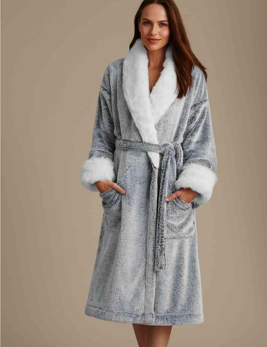 3e567273ed Marl Faux Fur Trim Dressing Gown