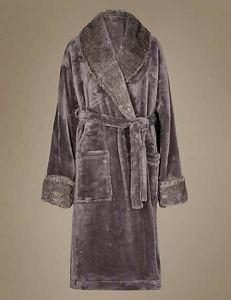 Faux Fur Trim Dressing Gown Ms Collection Ms