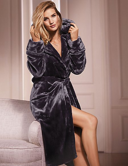 Satin Trim Hooded Dressing Gown | Rosie for Autograph | M&S