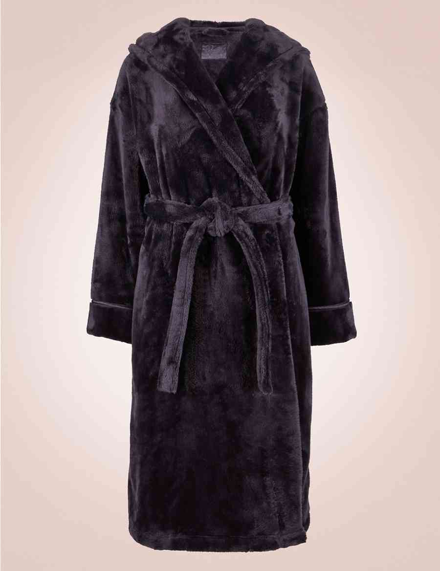 Satin Trim Hooded Dressing Gown Rosie For Autograph Ms
