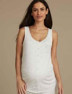 Maternity Striped Sleeveless Pyjama Top