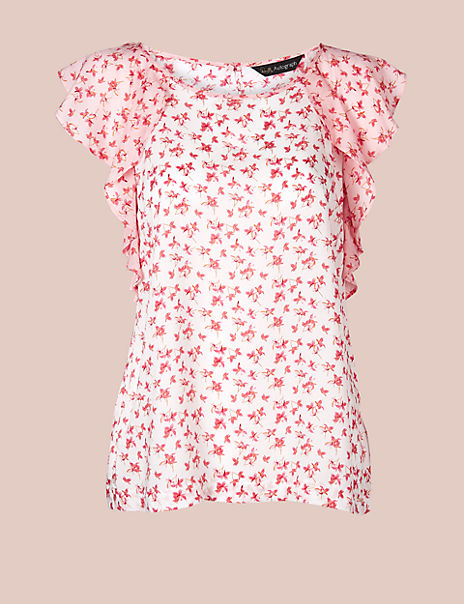 Pure Modal Floral Print Short Sleeve Top