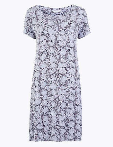 Snake Print Short Sleeve Nightdress