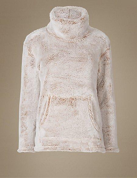 Faux Fur Long Sleeve Pyjama Top