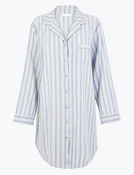 Pure Cotton Striped Short Nightshirt