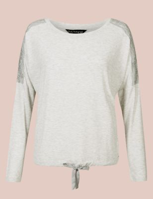 Lace Trim Long Sleeve Pyjama Top by Marks & Spencer