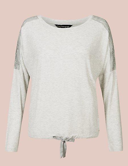 Lace Trim Long Sleeve Pyjama Top