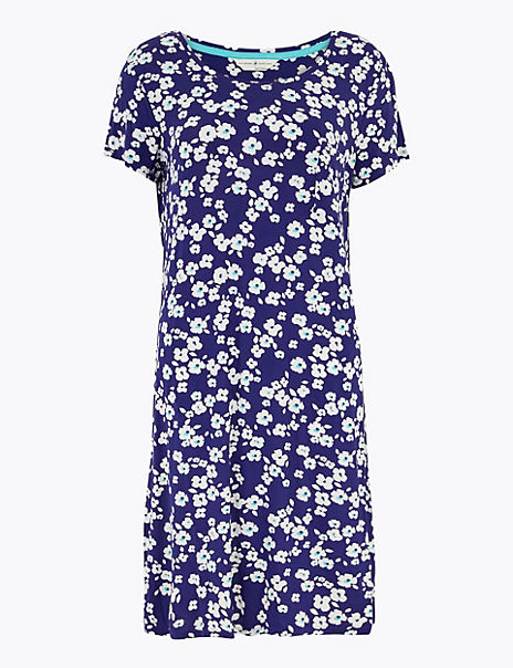Floral Spot Print Short Nightdress