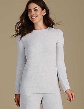 Long Sleeve Pyjama Top, GREY MIX, catlanding