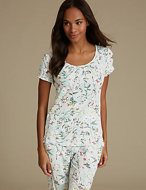 Floral Print Short Sleeve Pyjama Top, OATMEAL MIX, catlanding