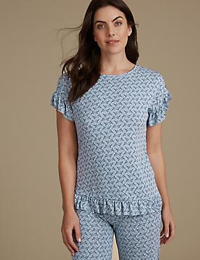 Frill Hem Printed Short Sleeve Pyjama Top