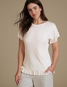 Frill Hem Short Sleeve Pyjama Top, OATMEAL, catlanding
