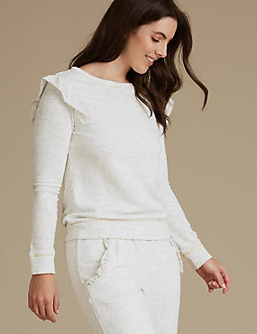 Textured Frill Long Sleeve Pyjama Top, OATMEAL, catlanding