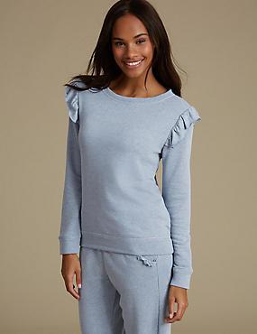 Textured Frill Long Sleeve Pyjama Top, DENIM MIX, catlanding
